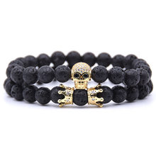 8MM Micro-inlaid Crown Skull Natural Stone Bracelet(China)