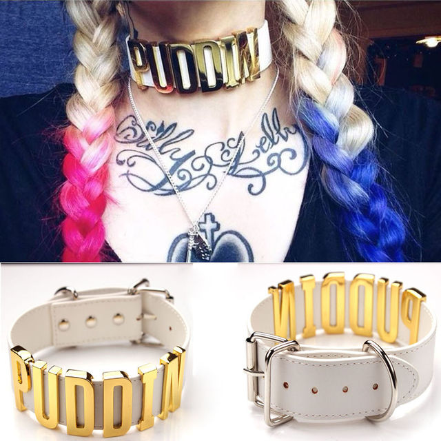 Punk Suicide Squad Harley Quinn Puddin Cosplay Leather Collar Choker Necklace