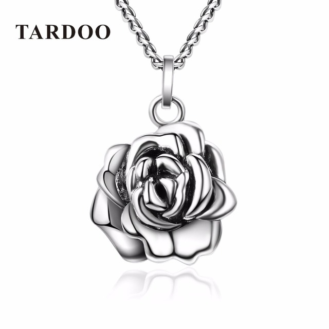 Tardoo Genuine 925 Sterling Silver Wedding Necklaces for Women Romantic Rose Pendants Necklaces Brand Fine Jewelry