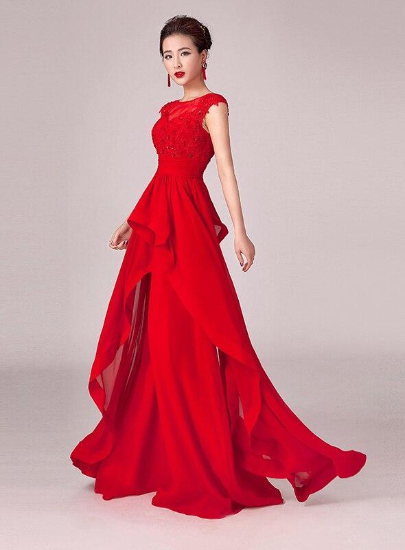 Китайский красный пром / ну вечеринку платья в с круглым вырезом аппликации блёстки вышивка бисером трапециевидный длинная вечерние платья
