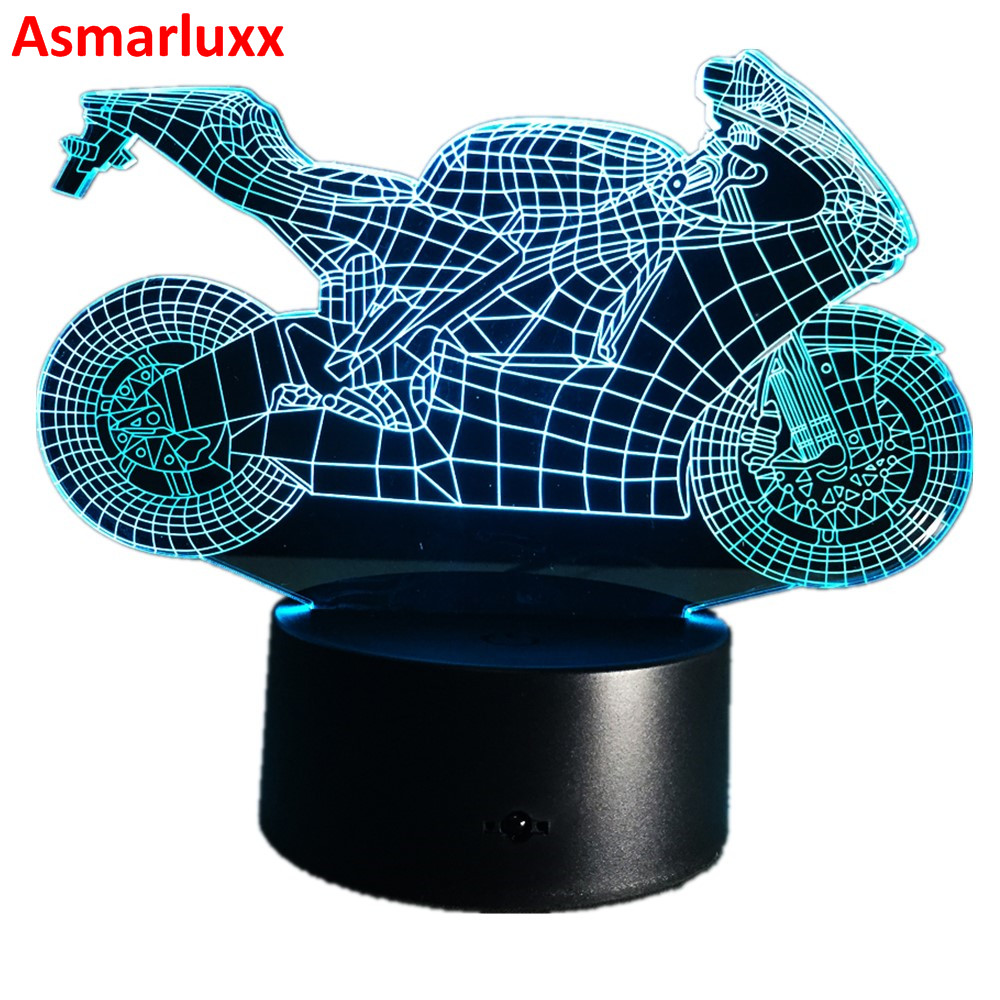 Motorcycle Night Lights 3D Table Lamp Led Decorative Lampara Plexiglas Plate Lumineuse Bedside Nightlight Colores Bulbing Lamp