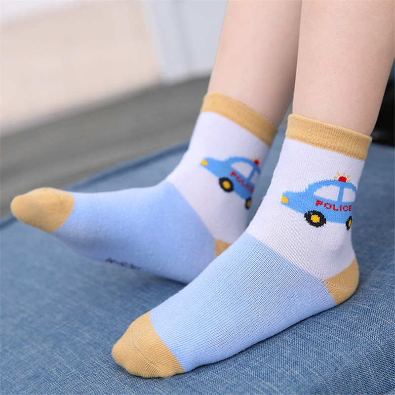 5 Pairs/Lot Boys Socks for Kids Children Toddler Casual Elastic Cotton car Unisex  Wholesale 1-12 Years