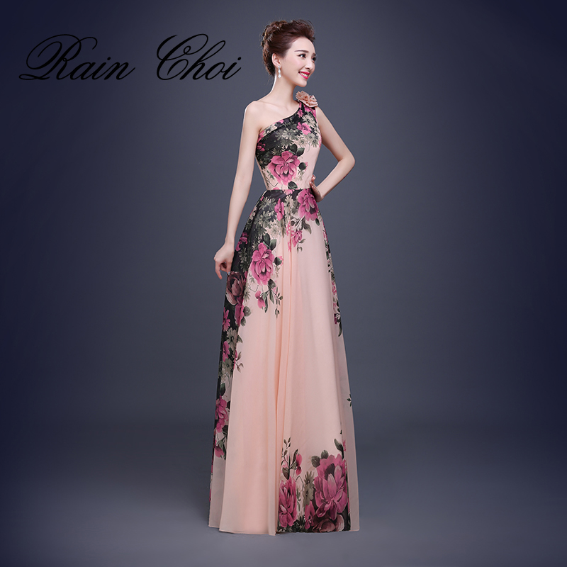 Flower Pattern Floral Print Chiffon Formal Party Gown Long