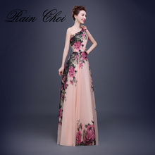 Flower Pattern Floral Print Chiffon Formal Prom Dress Party Gown One Shoulder Long Evening Dresses 2017