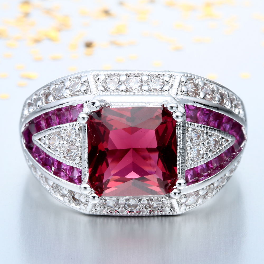 huge carat emerald ring ruby gold and rose diamond engagement corundum rings classic on halo