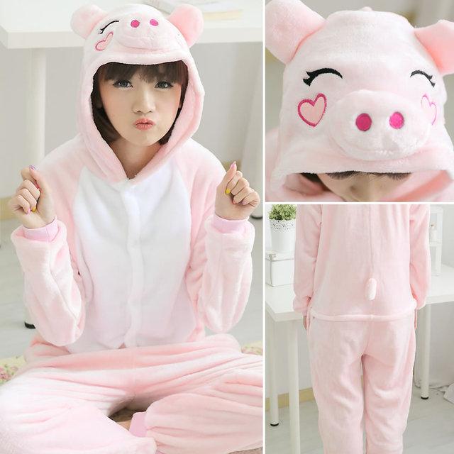 Kigurumi adulte Animal pyjama femmes hommes Cosplay une pièce cochon pyjamas flanelle à capuche dessin animé chaud Onesie vêtements de nuit costume