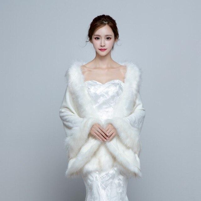 Faux Fur 2016 Winter Wedding Shawl Long Winter Autumn Bridal Wedding ...