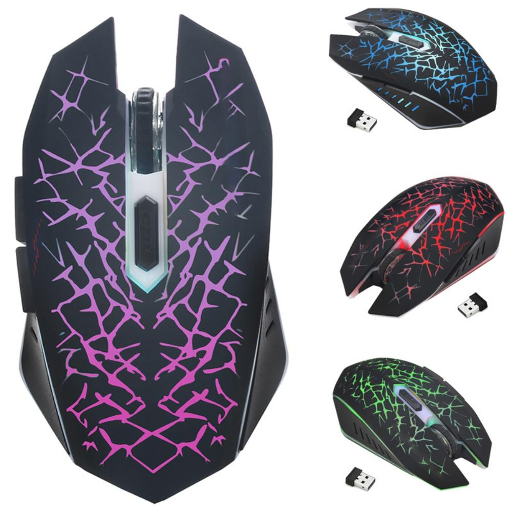2.4GHz Wireless Mouse Rechargeable 6-key Mute Ergonomics Mice With Adjustable DPI And Breathing Light