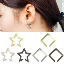 Hollow Out Vintage Geometric Five-pointed Star No pierced Ear Cuff Clip Earrings for Women 2019 Fashion Jewelry Brincos WD173 a suit of vintage alloy hollow out cuff rings for women