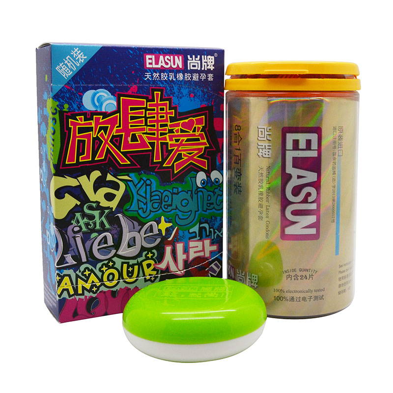 ELASUN 40 Pcs 8 Types Ultra Thin Ice And Fire Dotted CondomsPleasure For Her Natural Latex Rubber Condoms For Men