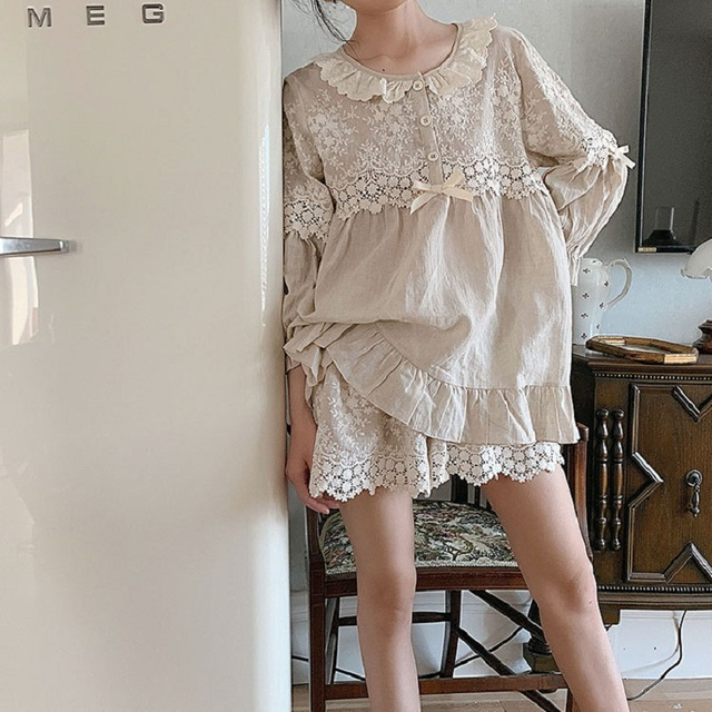 Summer Soft Linen Womens Pajamas Sets Sweet Shorts Pajamas Vintage Long Sleeve Sleepwear Autumn Nightwear Plus Size