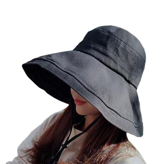 Women Doublesided Sun Cap Casual Solid Cotton Summer Black Yellow Beige Navy Blue Fisherman's Hat