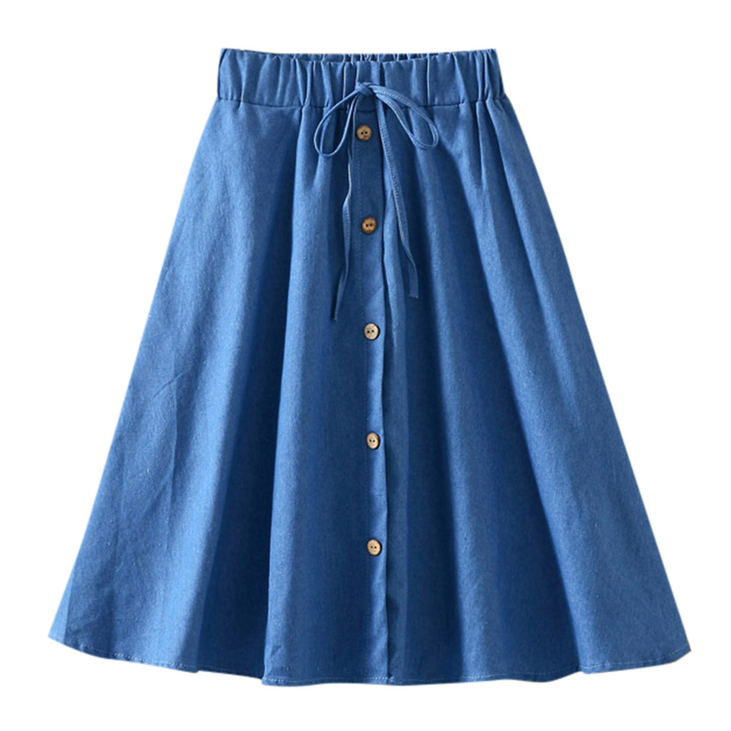 SAGACE Skirts Women's Summer Casual Denim Vintage Comfortable High Waist Slim Skirt Ladies A-Line jupe femme Beach Skirt