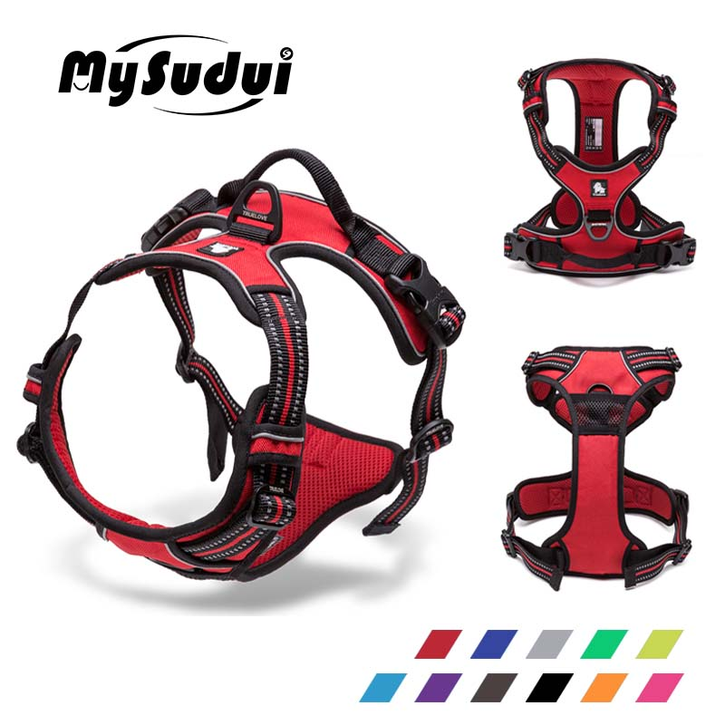 MySudui Truelove Large No Pull Dog Harness 3M Reflective Collar And Harnesses Service Dog Belt German
