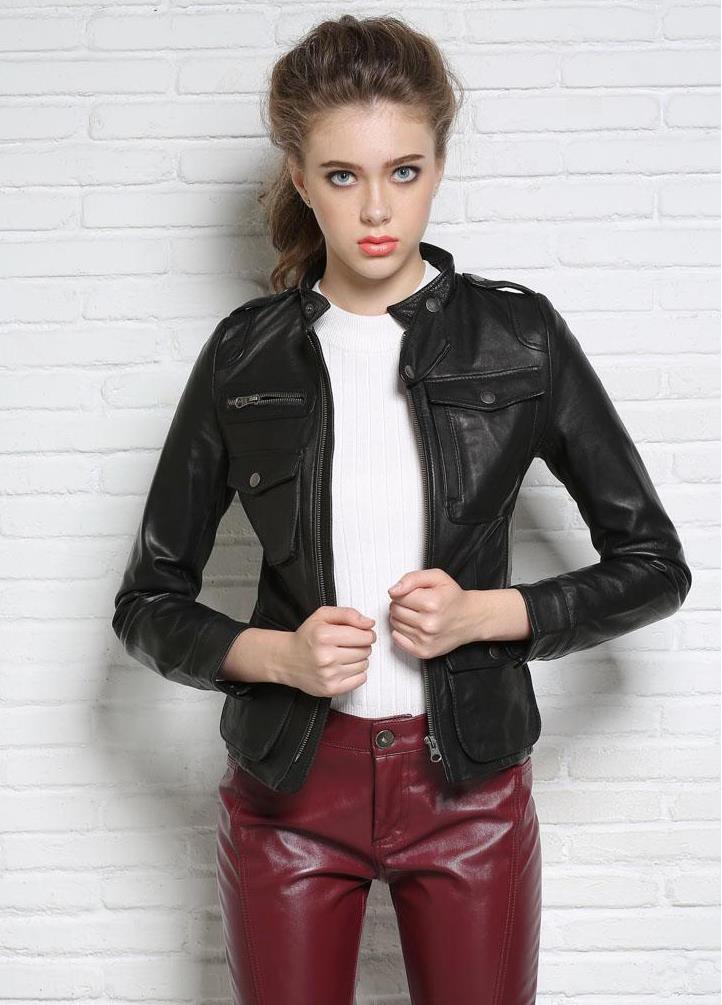 Autumn street black stand collar motorcycle genuine leather jacket womens sheepskin jackets and coats slim multi