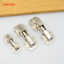 KK&FING 1 pcs 90 Degree No-Drilling Hole Cabinet Iron Hinge Bridge Shaped Spring Full Overlay Cupboard Door Hinges with Screws
