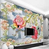 Özelleştirmek HD Şakayık ekose 3D oturma odası zemin yatak odası 3D duvar kağıdı duvar resimleri 3d stereo TV duvar kaplaması