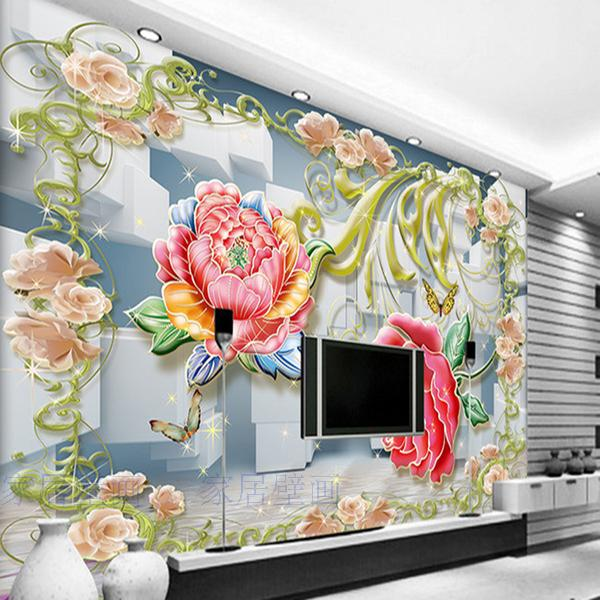 Customize HD Peony plaid 3D wallpaper the living room backdrop bedroom 3D wallpaper murals 3d stereo TV wall covering nostalgia car license plate large mural 3d wallpaper tv backdrop living room bedroom 3d wallpaper videos tv stereo 3d wallpaper