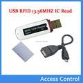 MIni USB RFID 13.56 MHZ lector de tarjetas IC Sin Contacto de Proximidad de Tarjetas Inteligentes NFC Lector de soporte técnico de Windows/android 2 unids Muestra tarjetas NFC