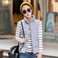 Autumn Winter Women's Cotton Padded winter jacket down outerwear Sleeveless cotton vest Slim wadded Jacket short cotton-padded