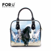 FORUDESIGNS White 3D Horse Women Handbag Casual Shoulder Pu Leather Handbags Woman Shoulder Cross Body Bags