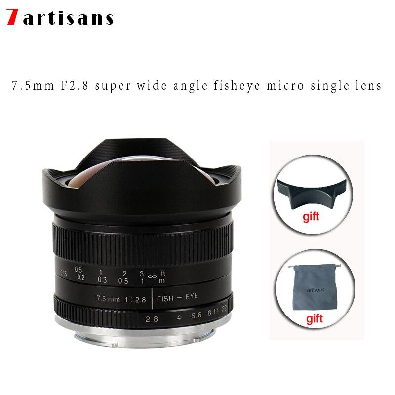 7 artesãos 7.5 milímetros f2.8 fisheye lens 180 APS-C Manual Lente Fixa Para E Montar Canon EOS-M Monte Fuji FX montar Venda Quente Frete Grátis