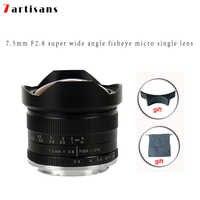 7 artesanos 7,5mm f2.8 lente ojo de pez 180 APS-C lente fija Manual para montaje E Canon EOS-M montaje Fuji FX montaje gran oferta envío gratis