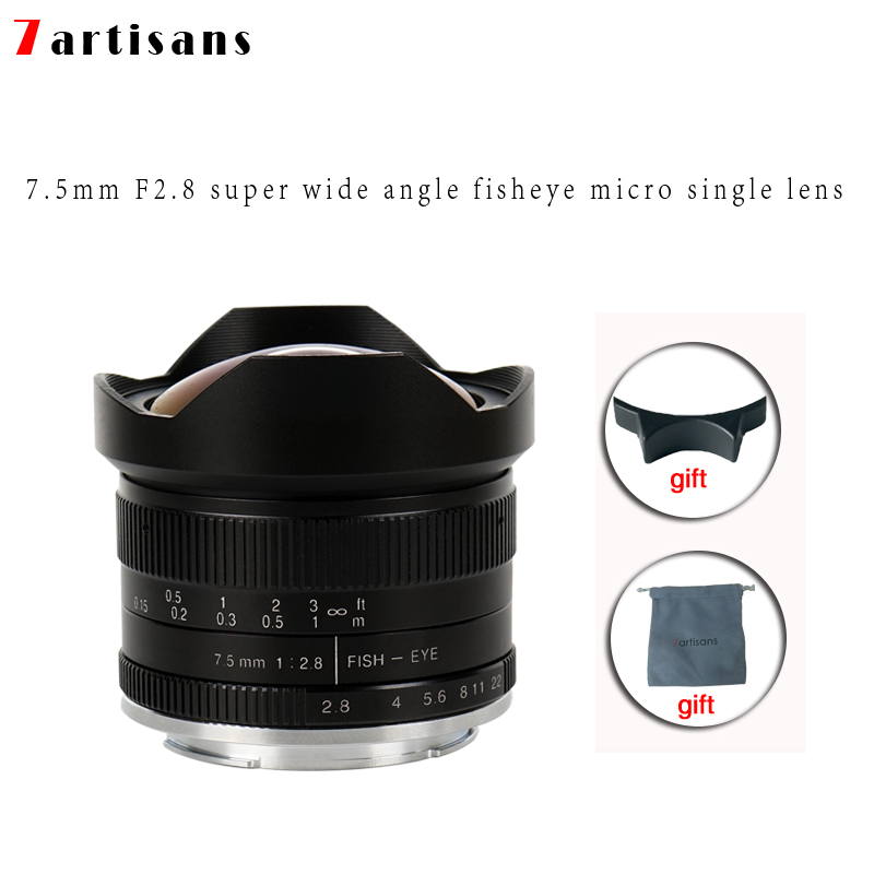 لنزهای دستی 7artisans 7.5mm f2.8 fisheye 180 APS-C برای لنزهای ثابت E Mount Canon EOS-M Mount Fuji FX Mount Hot Sale حمل رایگان