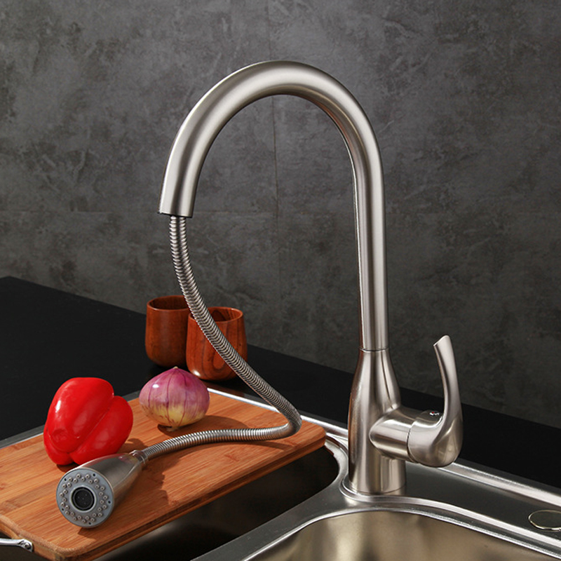Contemporary  Kitchen Faucet Brushed Nickel Faucet Pull Out  All Around Rotate Brass 2-Function Water Outlet Mixer Tap