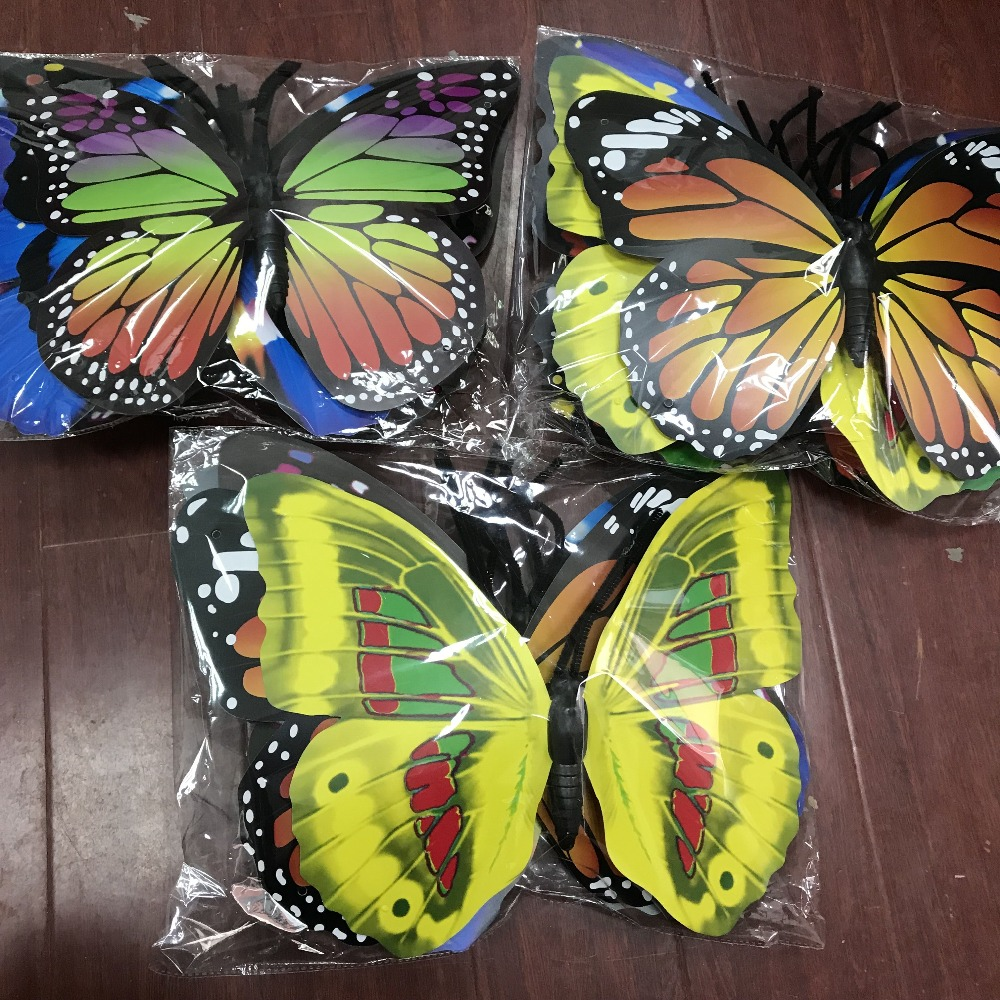 5pcs/lot,40cm Mix Color Large Plastic Decorative Butterfly,single/double Layer,outdoor Venue Layout, Stage Layout,wedding