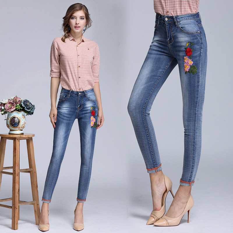 2017 spring autumn new embroidery flowers womens wear jeans cotton nine point pants slim fit foot pencil pants applique
