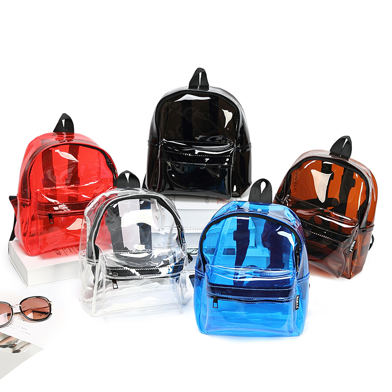 Men Women PVC Clear Backpack Solid Bags For Men Women Transparent Waterproof  Bagpack Bookbag School Bag Small Black Backpacks