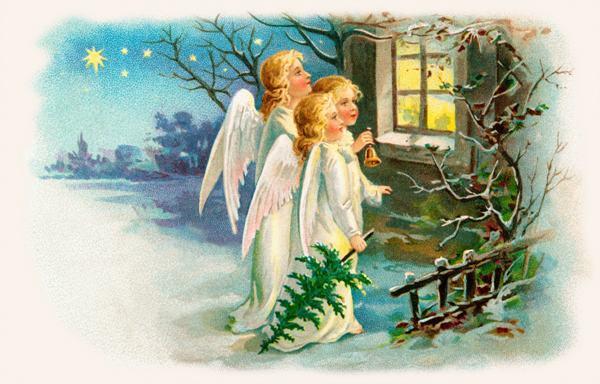 envo libre lindo ngeles impresiones de la lona pintura al leo del rbol de navidad campanas