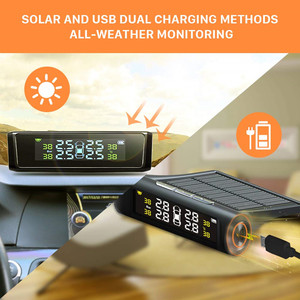 Image 4 - Solar Auto Tire Pressure Monitoring System TPMS Auto 4 Sensor Reifen Druck Alarm Che Tester