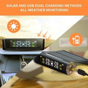 Image 4 - Solar Car Tire Pressure Monitoring System TPMS Auto 4 Sensor Tyre Pressure Alarm Guage Tester