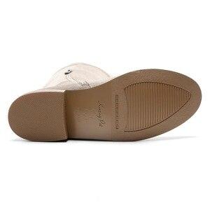 Image 5 - High Street Fashion Solid Zip Lederen Dij Hoge Laarzen Ronde Neus Lage Hakken Rome Elegante Vrouwelijke Over De Knie Laarzen L51