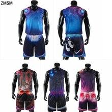 ZMSM мужские баскетбольные майки высокого качества, цветной спортивный костюм, тренировочный баскетбольный мяч с мультяшным принтом, униформа A1748