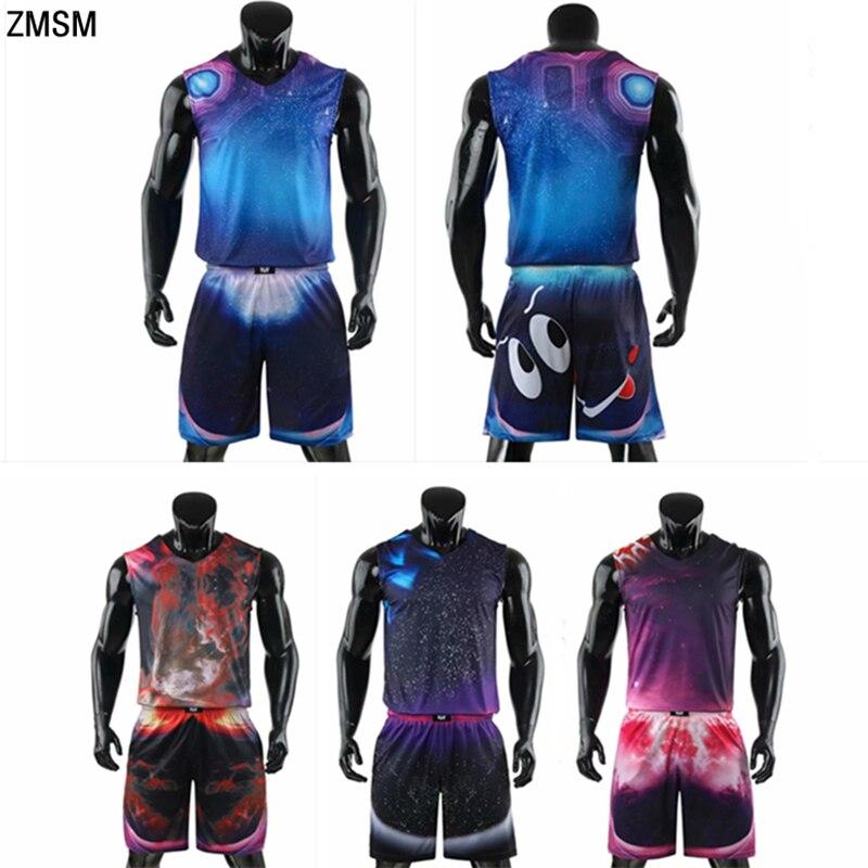 ZMSM Men Personality Basketball Jerseys Set High Quality Colorful Sports Suit Cartoon Printing Training Basketball Uniform A1748