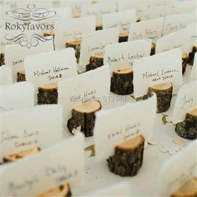 free shipping 50pcs wedding place card holder wooden name table number holder vintage eco decoration label