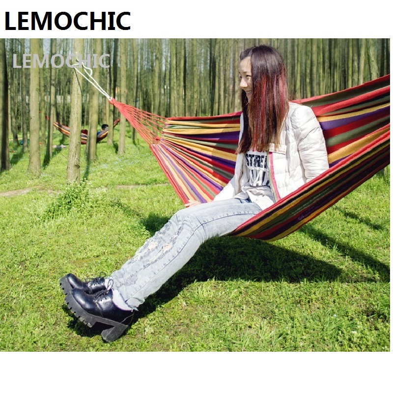 High quality LEMOCHIC Summer Portable Outdoor Leisure Traveling Camping Parachute Canvas Hammock for Two Person 2 Colors mat