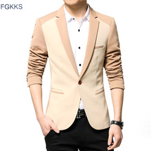 FGKKS 2017 New Spring Brand Blazer Men Fashion Jacket For Men Coats Casual Single Button Suit
