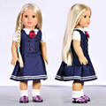 "New 18"" Doll Clothes For American Girl Fashion British style Navy Denim Dress 18 inch Doll Clothes DC0015"