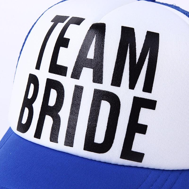 """""""Team Bride"""" Wedding Party Snapback Cap - Text Closeup"""
