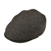 BOTVELA 100% Wool Flat Cap Men Women Tweed Gatsby Hat Golf Derby Newsboy Caps Silver Grey with Red 002