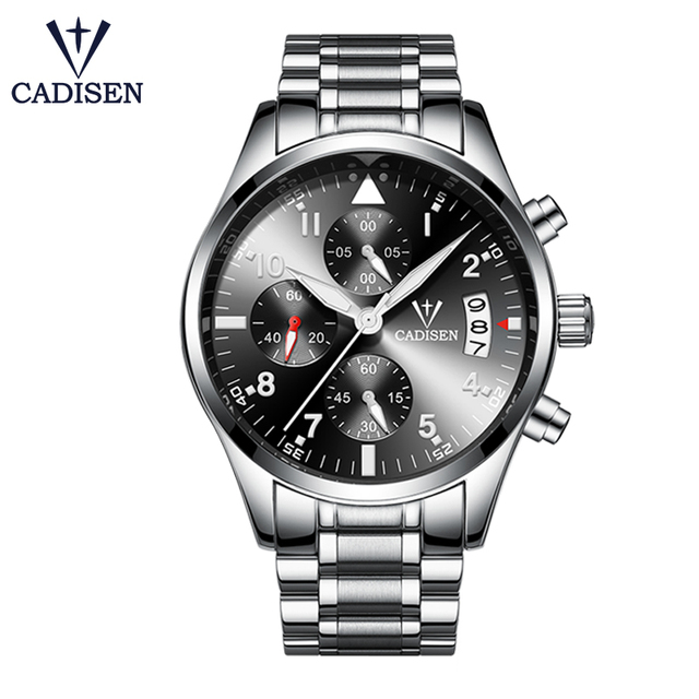 CADISEN Watch Men Fashion Sport Quartz Clock Men Watches Top Brand Luxury Full Steel Business Waterproof Watch Relogio Masculino | Fotoflaco.net