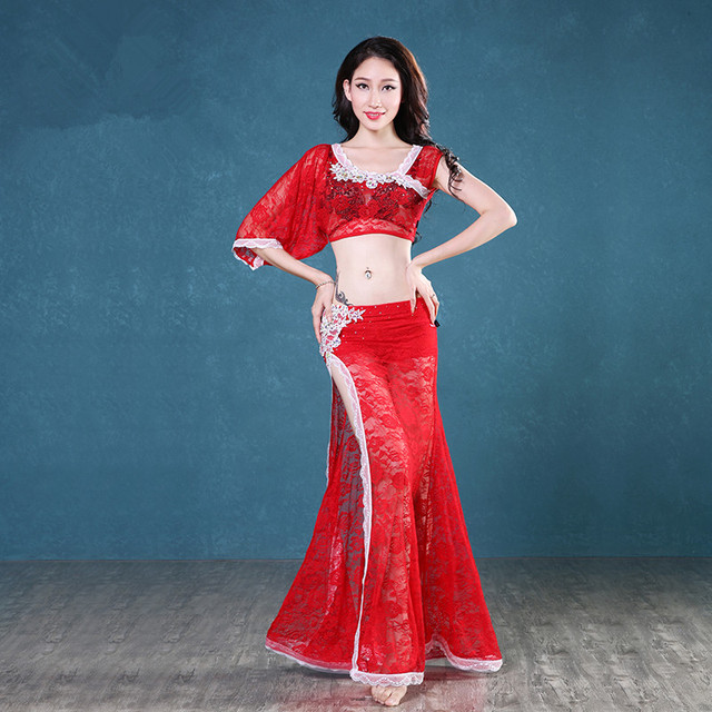 Belly Indian eastern dance costumes Bellydance oriental dancing costume clothes bra belt chain scarf ring skirt dress set 1056