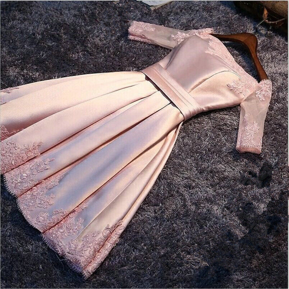 Vestido De Festa Fashion Pink Boat-Neck Satin Appliques   Prom     Dresses   2019 New Girls Short   Prom   Party Gowns Customed