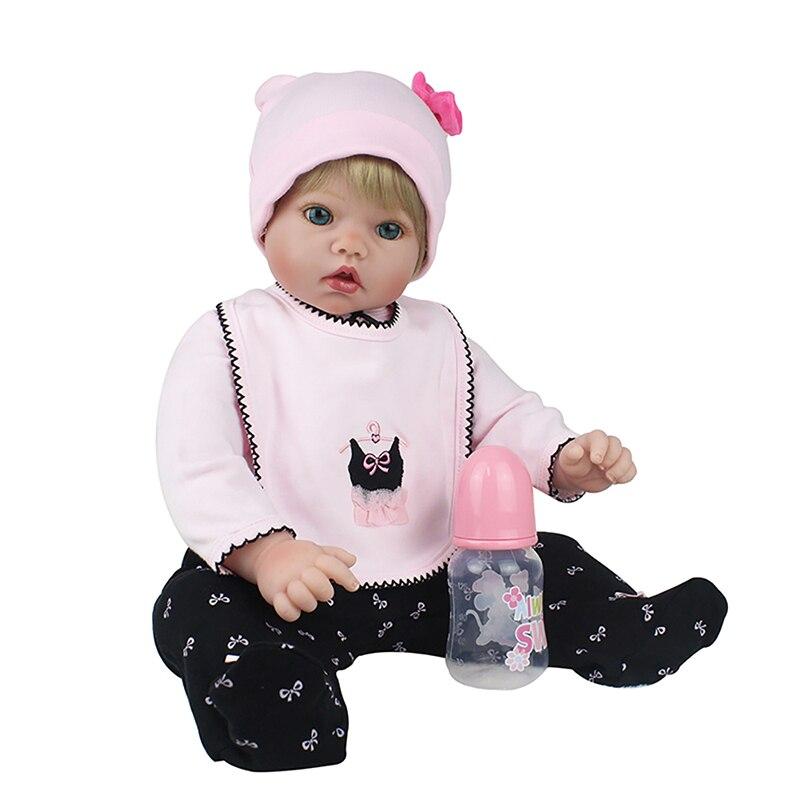 купить Kids baby reborn doll with soft gold mohair hair blue eyes likelife vinyl silicone 20inch 51cm the best playment birthday gift дешево