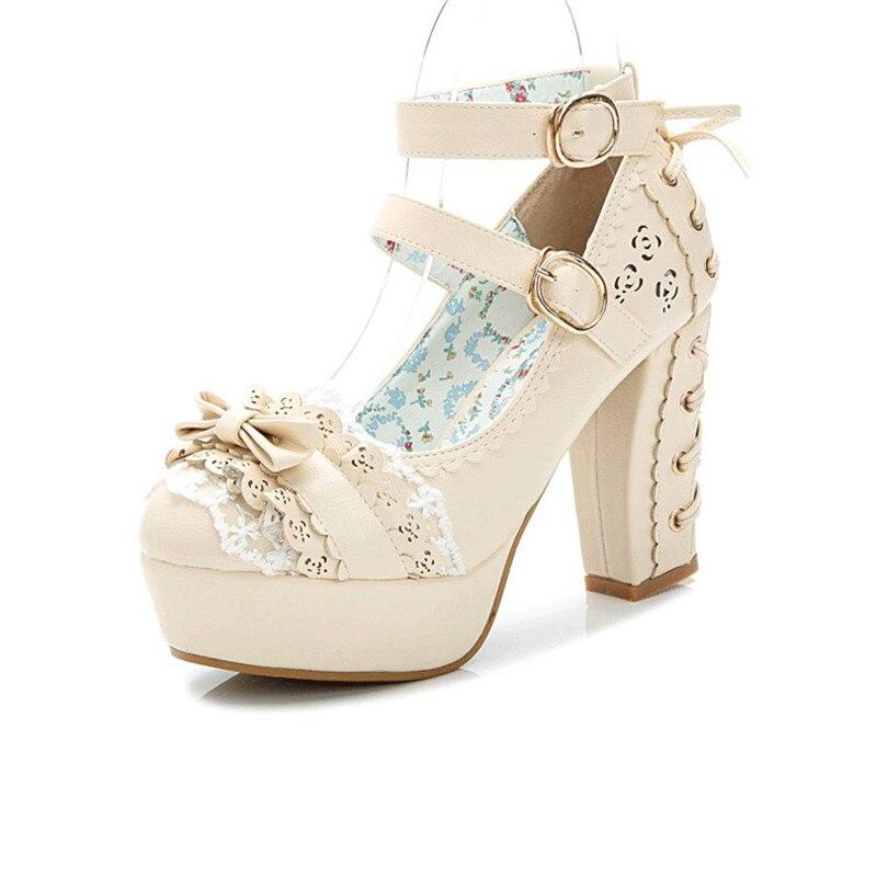 Brillante color púrpura Lolita tacones zapatos con arcos VFeIrof