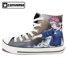 Black Converse All Star Anime Shokugeki no Soma Design Hand Painted Shoes Women Men High Top Sneakers Man Woman Cosplay Gifts